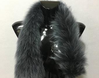 Real Dark Gray Fox Fur Small Collar
