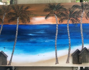 wood art relief palm sunset