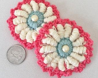 Flower medallion Barrette White