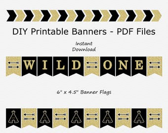 Wild One Banner - Black & Gold Glitter - Arrow - Teepee - Birthday Party - PRINTABLE - INSTANT DOWNLOAD