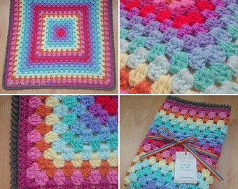 "Rainbow baby blanket. Chunky crochet yarn. 25"" (inches) square. New baby gift. Christening present. Baby shower. Unisex."