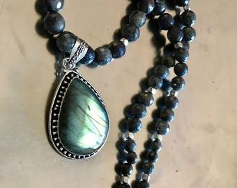 Labradorite 925 Sterling Silver pendant and graduated faceted Labradorite beaded necklace