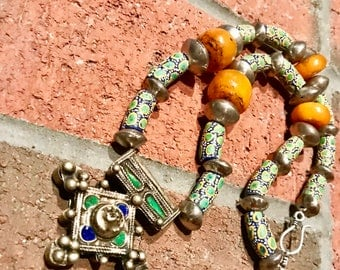 Boghdad Berber Amazigh Tifinagh Antique Cross silver pendant with African krobo glass powder beads & Morrocan Amber Silver Bicone Necklace.