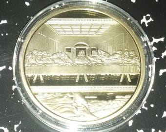 Jesus Last Supper Religious Gold Plated Art Coin