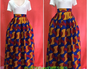 African  ankara maxi skirt . Ankara skirt. Floor length skirt. Women's clothing .ankara wear. African clothing .  Red blue and yellow skirt.