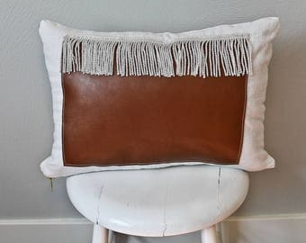 Modern Faux Leather/ Linen with Fringe pillow