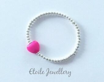 Girls Pink Heart Bracelet, Silver Bracelet, Girls Bracelet, Childrens Bracelet, Stretch Bracelet, Silver Bead Bracelet, Beaded Bracelet
