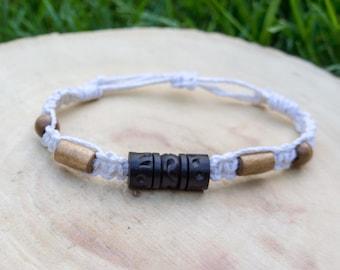 Macrame hemp bracelet, wood beads