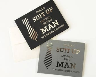 Best Man Cards, Groomsmen Cards, Will You Be My Groomsman Card, Will You Be My Best Man Card, Funny Cool Best Man Proposal Card (Set of 4)