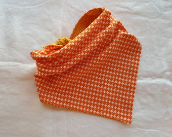 Traditional Tie End Dog Bandana - Reversible Orange and White Houndstooth/Yellow with Orange Checks