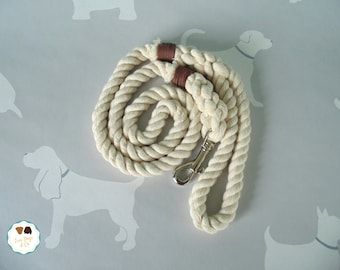 Natural Rope Dog Lead with Leather Whipping / Rope Dog Leash / 4ft Rope Dog Lead / 12mm / Rope Lead / Rope Leash / Pet Supplies