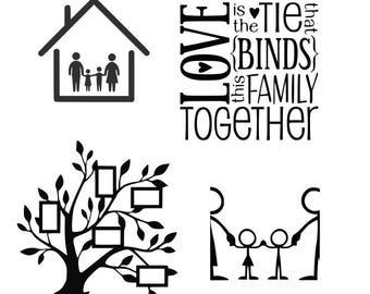 Family Tree SVG,EPS Png DXF,digital download files for Silhouette Cricut, vector Clip Art graphics Vinyl Cutting Machines