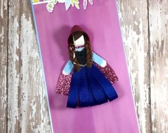 Princess Anna Frozen Ribbon Sculpture, Belle Hair Clip, Princess Anna and Elsa Inspired Hair Clip, Frozen Hair Clip, Girls Hair Access
