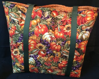 Pumpkins- Functional, Multiple Use, Fully Lined Cotton Tote Bags