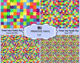 Colorful Puzzles Printed Pattern Vinyl/Siser HTV/ Oracal/ Indoor Vinyl/ Outdoor Vinyl/ Heat Transfer Vinyl- 157