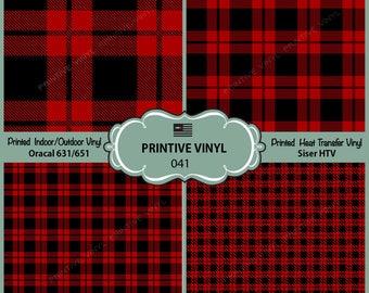 Lumberjack plaid Pattern Printed Vinyl/Siser HTV/ Oracal/ Indoor Vinyl/ Outdoor Vinyl/ Heat Transfer Vinyl- 041