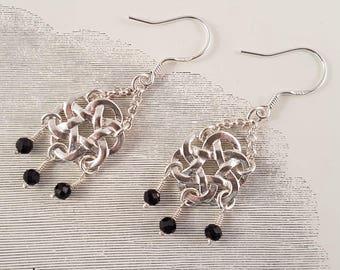 Black spinel sterling silver knot earrings