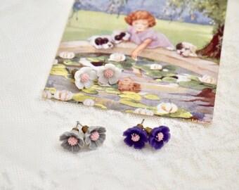 Set of 3 Earrings  for girl, Post flower earrings, Girl post earrings, Flower earrings, Gift for kids, Gift for girls
