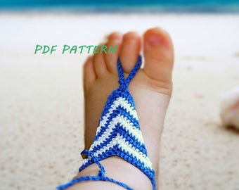 Baby stripped Crochet Barefoot Sandal Pattern, Baby Foot accessories, Boy barefoot sandals, Beach Footbands, Gladiator sandals, Photo prop