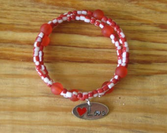 Red and white Adjustable Bracelet with memory wire, love bracelet