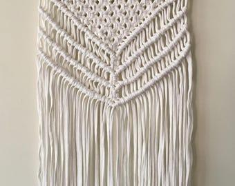 Handmade Macrame Wall Hanging//Cotton Jersey//Boho//Eclectic//Gypsy//Wall Art//Home Decor