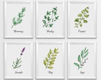 Herbs Print, Watercolor Herbs, Kitchen Print, Kitchen Decor, Herbs Wall Art, Herbs Printable, Kitchen Printable, Botanical Printable, Herbs
