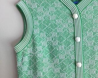 1960s green tweed dress