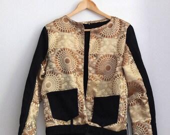 Denim jacket | Black & Gold | Upcycled denim jeans