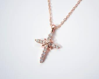 Rose Gold Diamond Cross Necklace