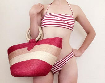 Vintage Oversized Striped Straw Handbag