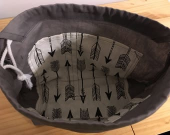 Knit project bag- grey