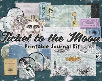 Celestial digital junk journal kit, printable vintage galaxy journal inserts, digital stars junk journal supply instant download