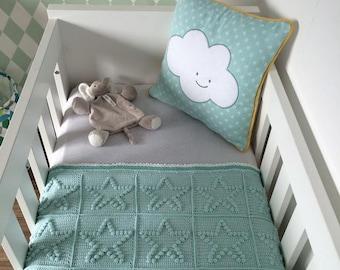 bobbelstitch star crochet granny squares blue Mint green baby blankets