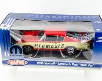 1 of 1500 Mopar Champions 1968 Plymouth Barracuda Hemi Mule Car 1/18 Diecast