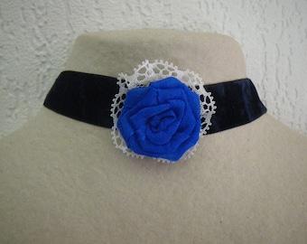 Midnight Blue Velvet Choker necklace