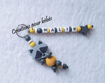 "Keychain 3D ""Raccoon"" with wooden beads with the name of your choice"