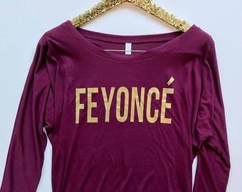 BLACK FRIDAY SALE Feyonce Shirt Off Shoulder, Feyonce Shirt, France Shirt, Fiance Christmas Gift, Fiance Gift, Christmas Gift for Fiance, Gi
