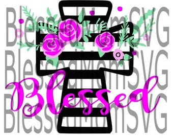 Floral Cross Blessed SVG
