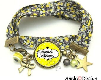 Liberty bracelet gift for school - Black Star yellow