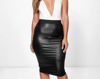 Vinyl Leather Look Midi Skirt - Shine Faux Vinyl Leather Midi Skirt