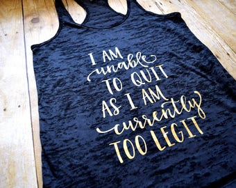 Tank Top Black Burnout Tank Top Too Legit Graphic Workout Tank Top Shirts for Women Ready To Ship Size Large