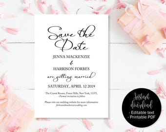 Wedding Save the Date Template, Wedding Save the Date, Save the Date, Save the Date Cards, Wedding Date Print Card, Save the Date Printable