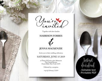Wedding Invitation Template, Two Red Love Hearts Wedding Invitation Printable, Wedding Download, Invitations Wedding, Calligraphy Wording