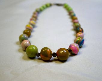 Green Clay beads necklace