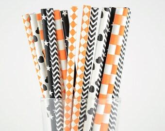 Black And Orange Paper Straws Mix - Halloween Straws - Party Decor Supply - Cake Pop Sticks - Party Favor