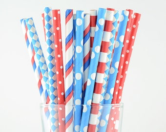 Blue And Red Mix Paper Straws - Party Decor Supply - Cake Pop Sticks - Party Favor
