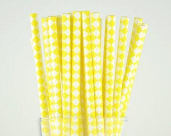 Yellow Diamond Paper Straws - Mason Jar Straws - Party Decor Supply - Cake Pop Sticks - Party Favor