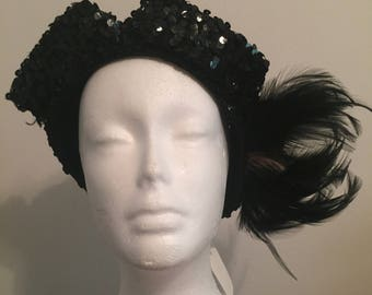 Vintage 1940s Sequined & Feather Hat