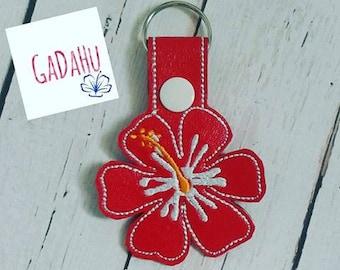 Hibiscus Hawaiian Flower Key Fob Snap Tab Embroidery Design 4X4 size