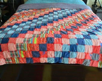 Vintage Homemade Quilt Patchwork Colorful Grandma 80 x 72 Reversible
